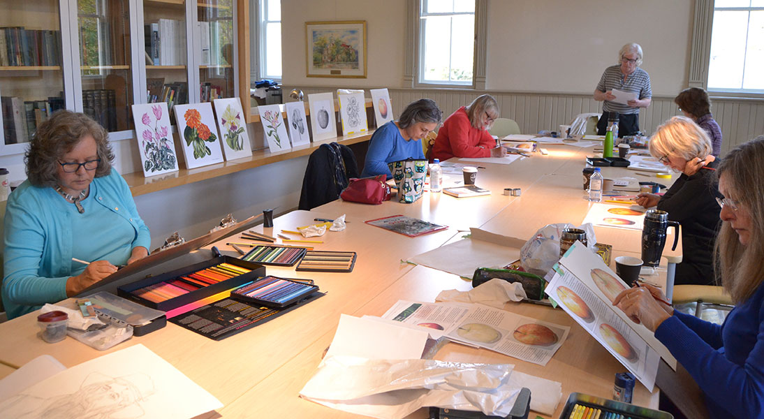 Photograph of adults attending a class at the Aurora Cultural Centre