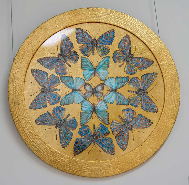 Blue Mandala Butterfly drawing by Grazyna Tonkiel